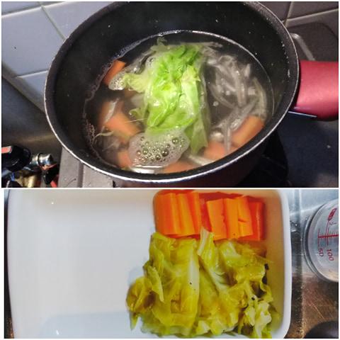みそ汁の具を回復食のゆで野菜に