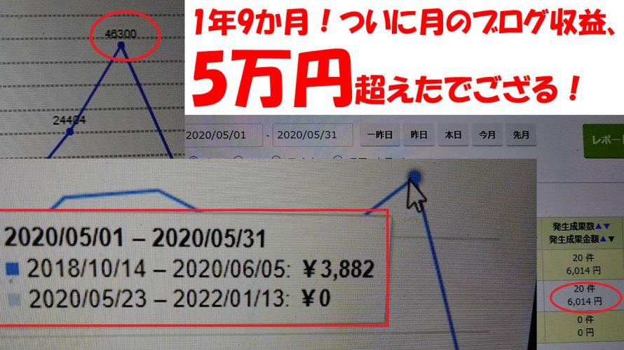 ブログをはじめて1年と9か月、月の収益が5万をついに突破!内訳を公開!!